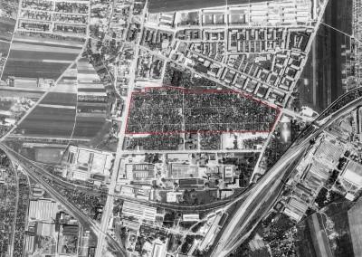 1965 – Die Anlage noch in voller Größe (rot umrandet). Südlich an der Shuttleworthstrasse befand sich der benachbarte KGV Alberti