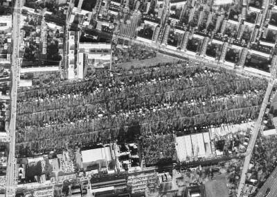 """1980 – Durch den Bau der Wohnhausanlage """"Kohl-Hof"""" im Norden unserer Anlage verloren wir etliche Gärten. Auch der KGV Alberti musste Kleingewerbebetrieben weichen"""