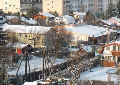 2009 – Winter in der Anlage. Links das Vereinshaus, rechts daneben das Schutzhaus.