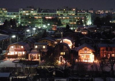 2009 – Winterliche Nachtaufnahme vom Mittelteil der Anlage mit Blick nach Norden. Etliche Gärten sind weihnachtlich beleuchtet.