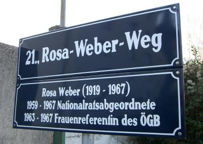 2011 – Zusatztafel mit den biografischen Daten von Rosa Weber