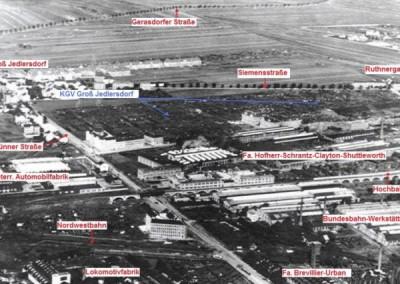 1928 - Luftbild von Groß Jedlersdorf, den umliegenden Fabriken und dem Kleingartenverein