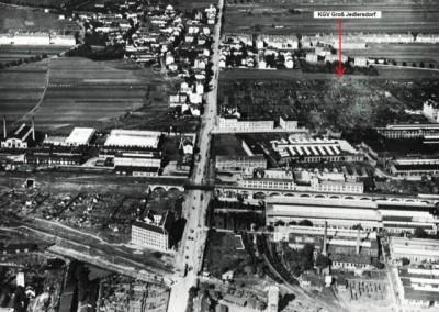 1928 - Luftbild von Groß Jedlersdorf mit dem Kleingartenverein