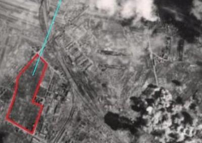 1945 - Bombenangriff auf Floridsdorf im März 1945. Die Bomben verfehlten unsere Anlage knapp und zerstörten den Bahnhof Floridsdorf nachhaltig